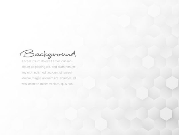 Abstract geometric tile honeycomb texture, white and gray polygon, technology concept background.