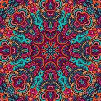 추상적 인 기하학적 타일 된 boho 민족 완벽 한 패턴입니다. 손으로 그린 만다라