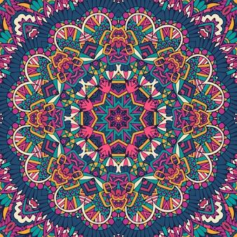 装飾的な抽象的な幾何学的なタイル張りの自由奔放に生きる民族のシームレスなパターン。
