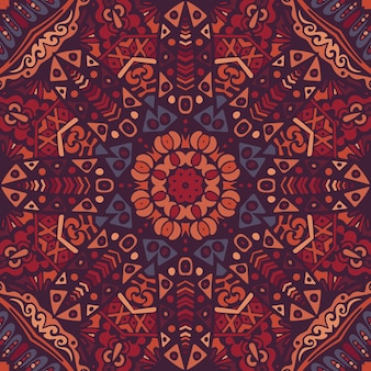 抽象的な幾何学的なタイル ボヘミアン エスニック シームレス パターン装飾。花柄グラフィックプリント