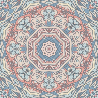 装飾的な抽象的な幾何学的なタイルボヘミアンエスニックシームレスパターン。インド風グラフィックプリント