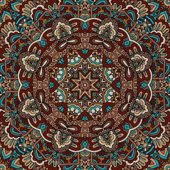 抽象的な幾何学的なタイルボヘミアンエスニックシームレスパターン装飾