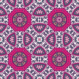Abstract geometric tiles bohemian ethnic seamless pattern ornamental.