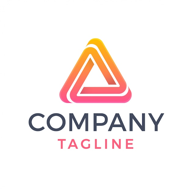 Abstract geometric triangle gradient sporty delta logo
