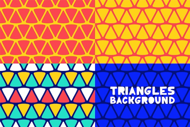 Abstract geometric triangles pattern background set for business brochure cover design.