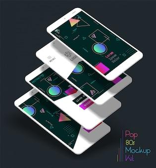 Абстрактные геометрические интерфейсы экраны 3d макеты