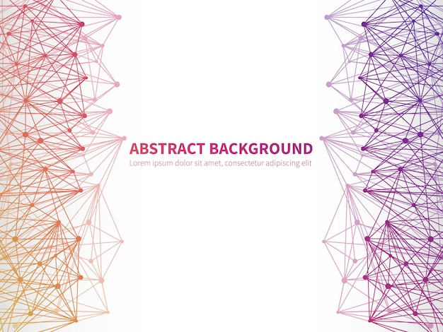 Abstract geometric vector background  with colorful molecular structure
