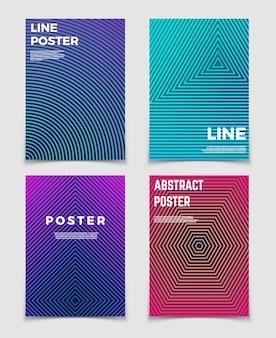 Abstract geometric vector backgrounds with line patterns. modern minimalist design for posters and book covers
