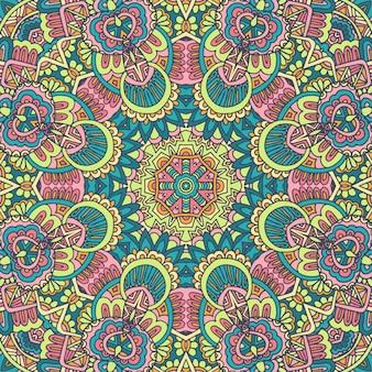 추상적인 기하학적 벡터 타일 boho 민족 원활한 패턴 장식