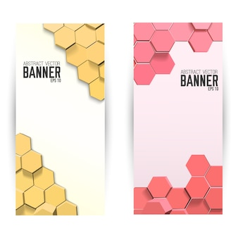 Abstract geometric vertical banners with bright hexagons