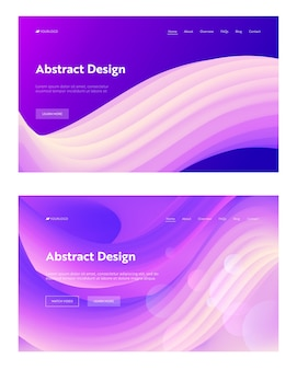 Abstract geometric wave shape landing page background set. colorful digital motion pattern.