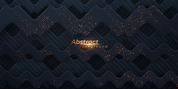 Abstract geometric wavy background with golden dots.