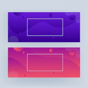 Abstract geometric wavy banner in two gradient color option.