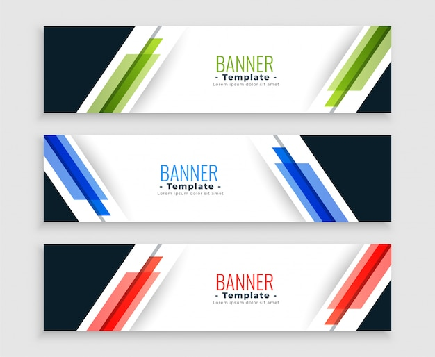Abstract geometric web banners modern set in three colors
