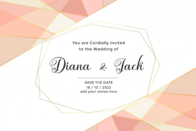 Abstract geometric wedding card with pastel colors