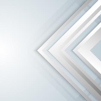 抽象的な幾何学的な白と灰色の矢印の輝きレイヤー要素デザインの背景。技術コンセプト。