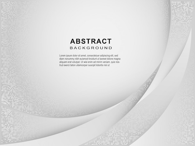 Abstract geometric white and gray curved line gradient background.
