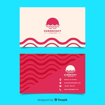 Abstract geometric white and red business card template