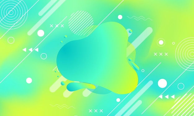 Abstract geometric with colorful fluid and memphis element vector illustration