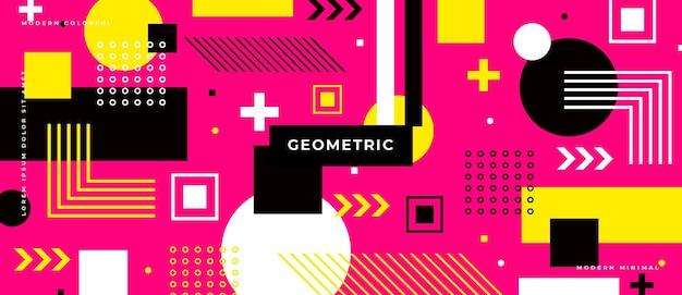 さまざまな要素を持つ抽象的な幾何学は形を抽象化します。