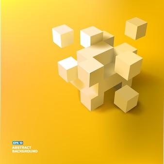 灰色の3dの立方体と正方形のイラストで幾何学的な抽象的な