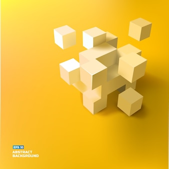 Abstract geometric with gray 3d cubes and squares illustration