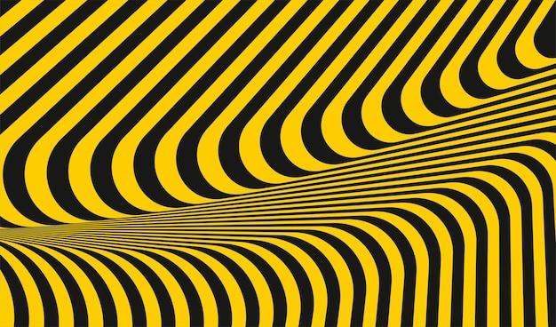 추상적인 기하학적 노란색과 어두운 줄무늬 선 패턴 스타일