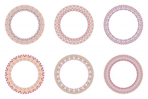 Abstract geometrical floral circle set