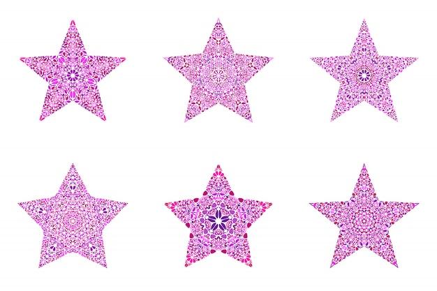 Abstract geometrical flower ornament star logo template set