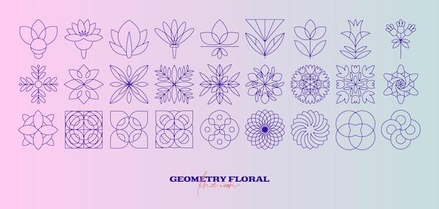 Набор абстрактных геометрических цветов. значок простой линии. монохромный многоугольный вектор растений.