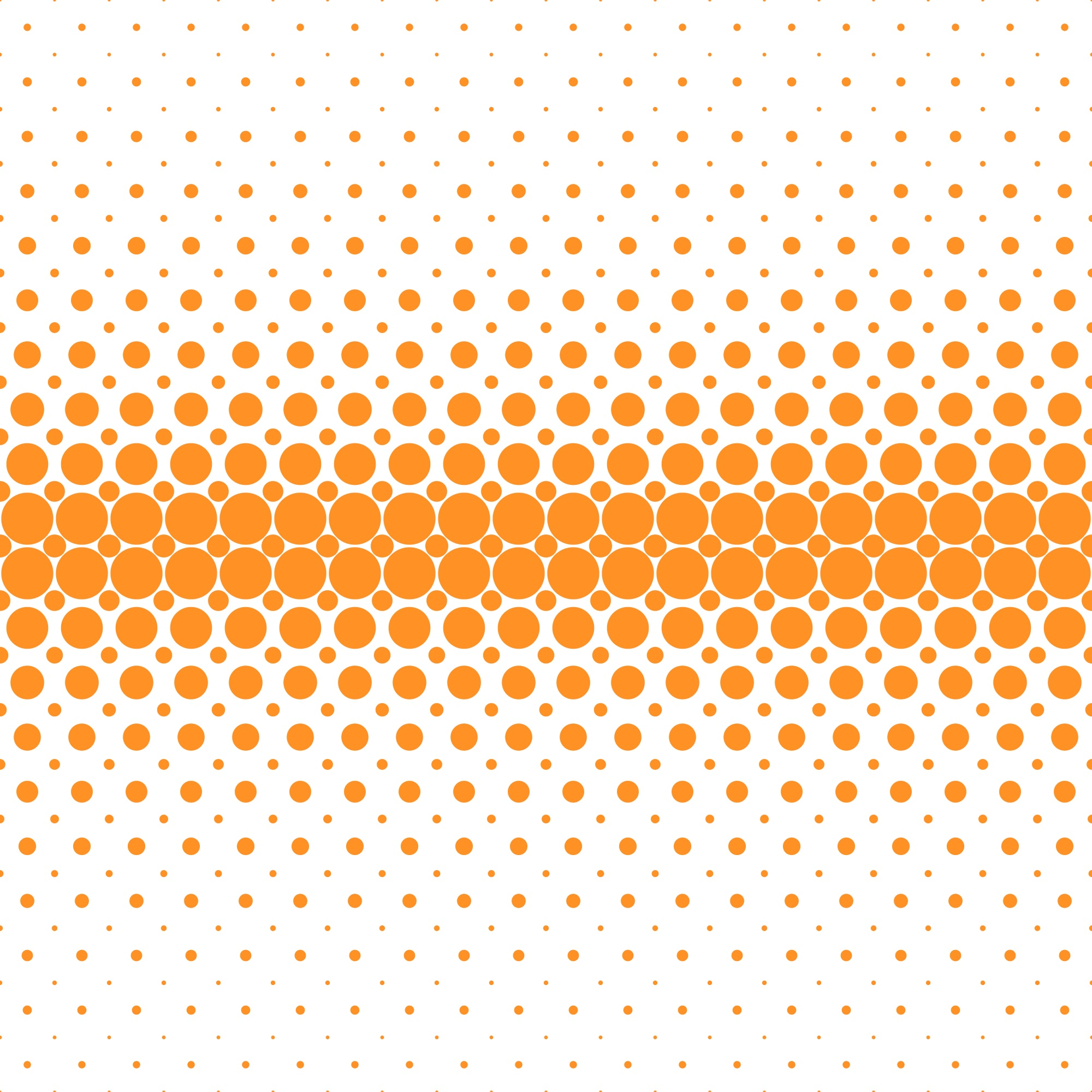 Abstract geometrical halftone dot pattern background - vector graphic from orange circles on white background