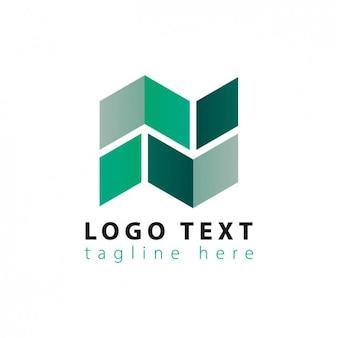 緑の色調で抽象的な幾何学的なロゴ