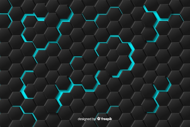 Abstract geometrical pattern with blue lights