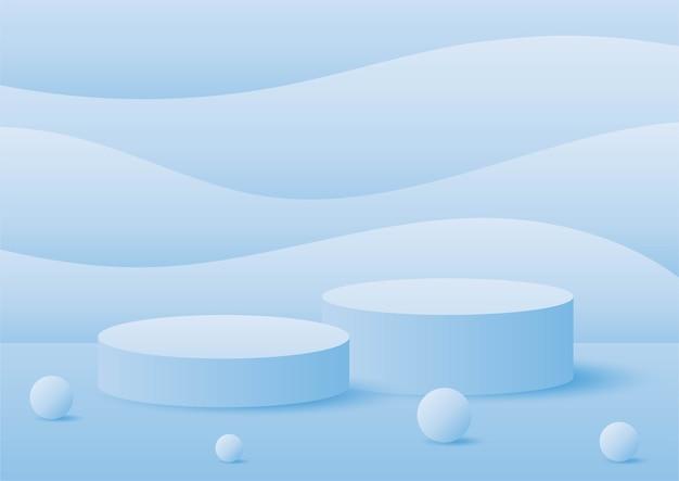 최소한의 스타일로 추상 기하학 모양 연단 블루 파스텔 제품 스탠드 프레젠테이션