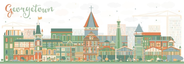Abstract georgetown skyline with color buildings. vector illustration. business travel and tourism concept with modern architecture. image for presentation banner placard and web site.