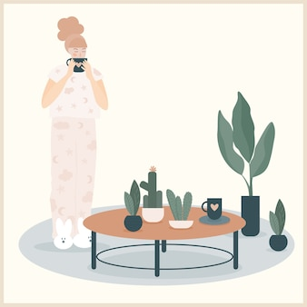 Abstract girl illustration drinking coffee on morning, house plant decoration