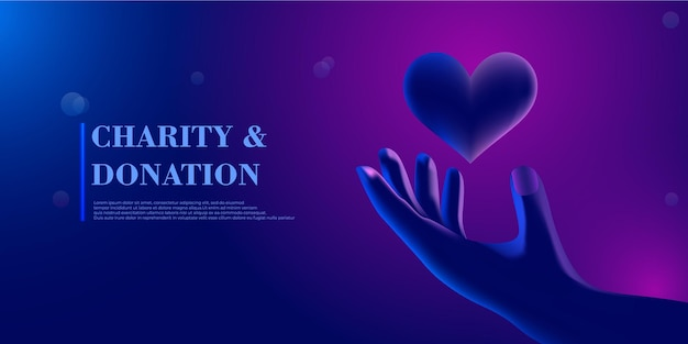 Abstract giving hand with heart modern 3d graphic concept isolated vector illustration