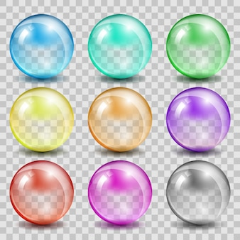 Abstract glass color spheres. ball shiny transparent, bubble reflection and glossy