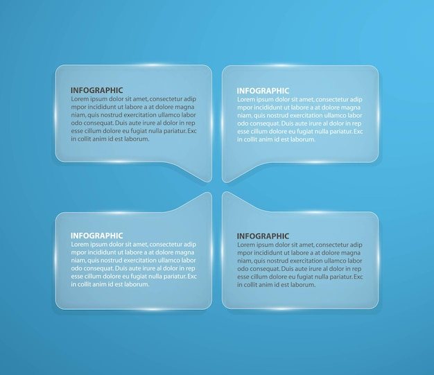 Abstract glass infographic design template in the square form.