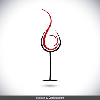 와인 로고의 추상 유리