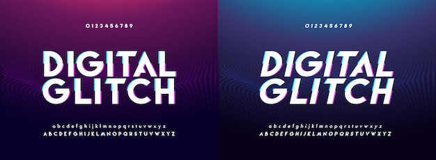 Abstract glitch digital alphabet font and number