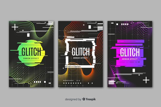 Abstract glitch effect cover collection