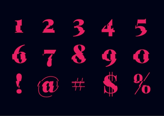 Abstract glitch font number set