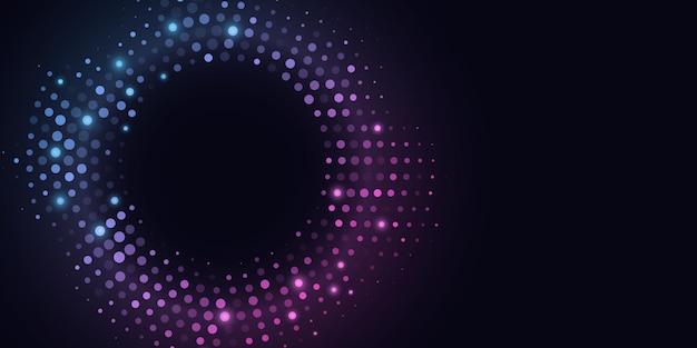 Абстрактный фон сверкающих полутонов. светящийся круг точек.