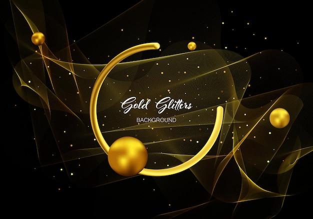 상품권, 초대장, 판촉 상품 및 웹 사이트에 대한 추상 빛나는 장식 조각. 황금 반짝이 효과와 골드 투명 웨이브 디자인 요소입니다.