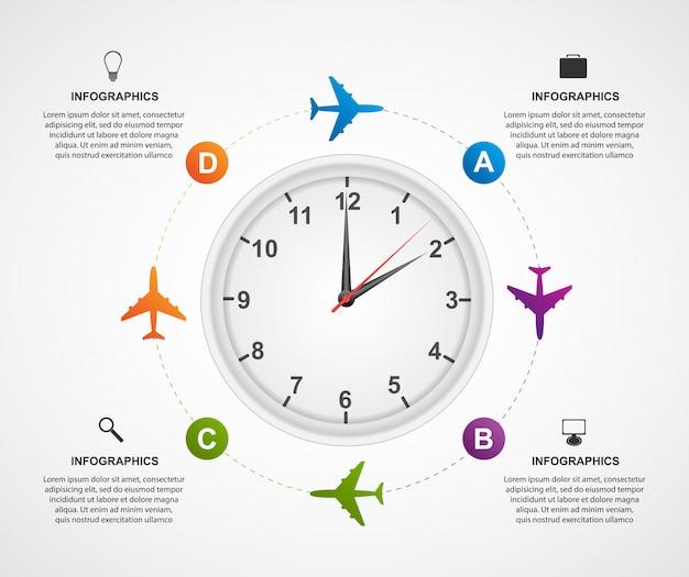 グローバルな飛行機のインフォグラフィックを抽象化します。