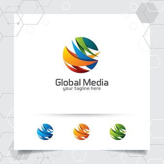 Abstract global logo vector design with arrow on sphere and digital symbol icon.