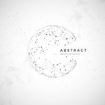 Абстрактная глобальная сеть. узел и связь. цифровое сетевое моделирование земного шара. социальная компьютерная структура. иллюстрация