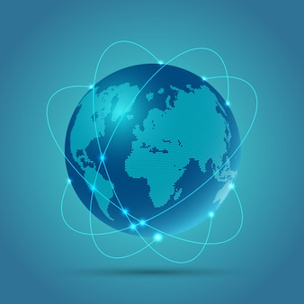 Abstract globe background depicting network communications