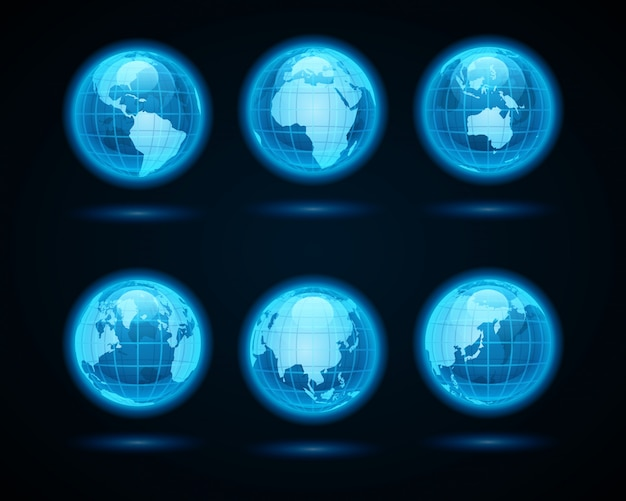 Abstract globe earth neon light icons set design elements for infographics design.